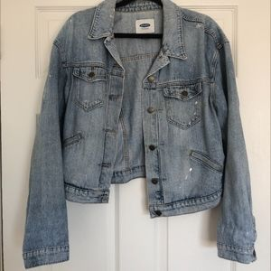 Old Navy Light Wash Paint Splatter Denim Jacket